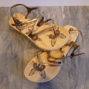 Skechers Cali Butterfly Bronze Strappy sandals 9